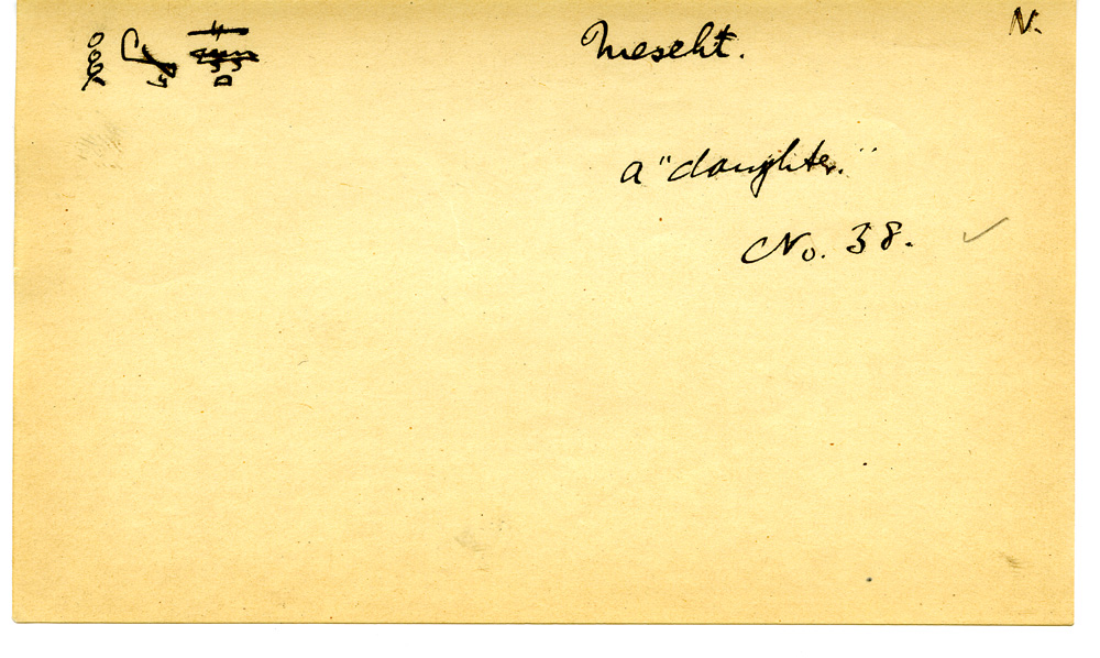 Notes: Giza Minor Cemetery name card: Mesehet (in G 3033)