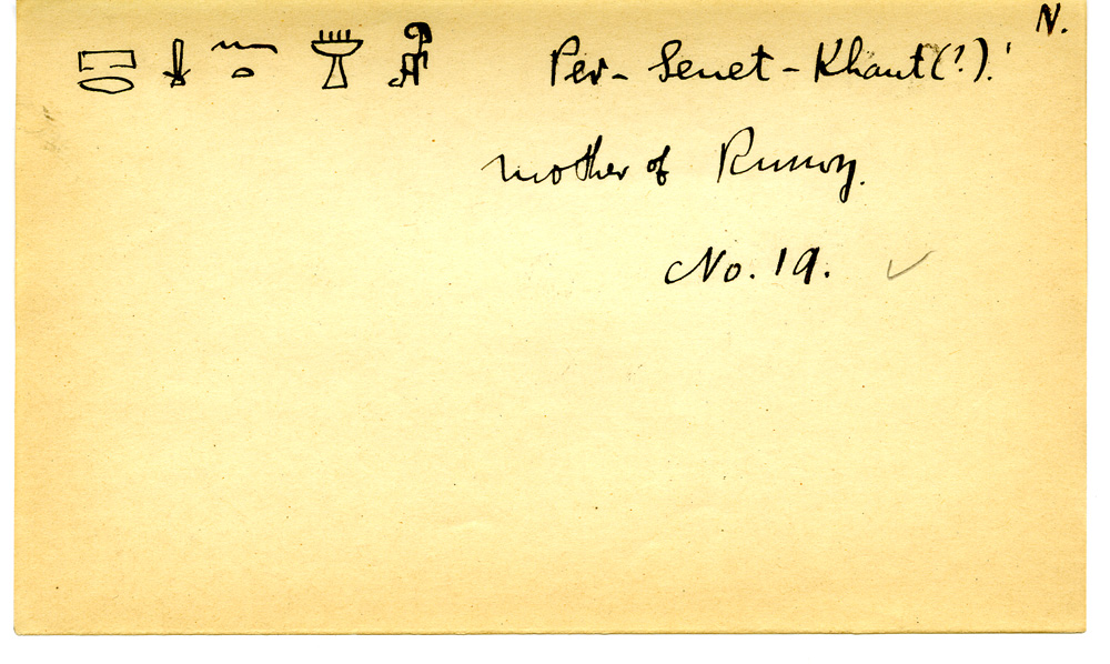 Notes: Giza Minor Cemetery name card: Persenet (in G 3098)