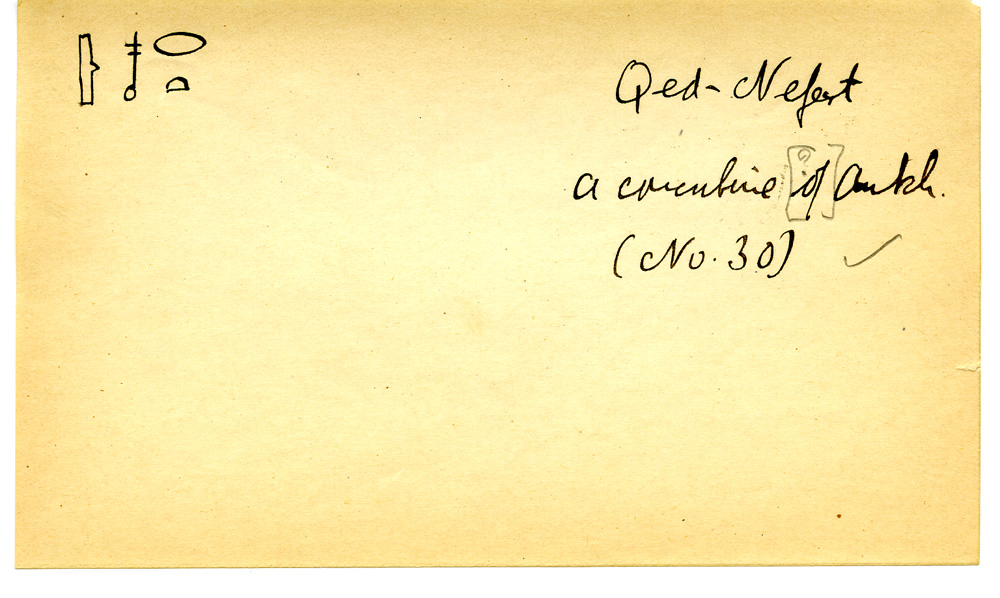 Notes: Giza Minor Cemetery name card: Kednefret (in G 3050)