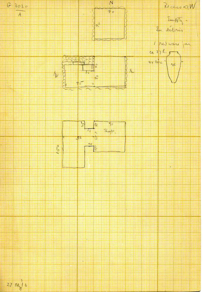 Maps and plans: G 3020, Shaft A, and pottery jar