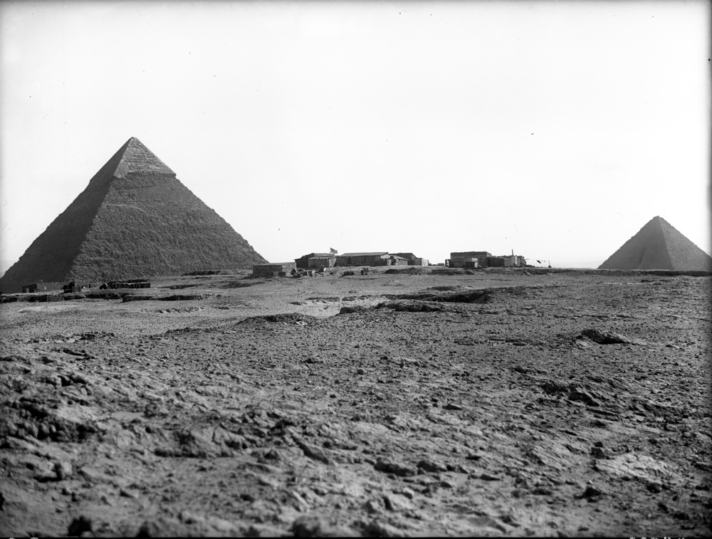 General view: Site: Giza; view: Harvard Camp, Khafre Pyramid, Menkaure Pyramid